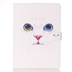 Patterned Leather Wallet Stand Shell for iPad Pro 9.7 - White Cat with Colorized Eyes