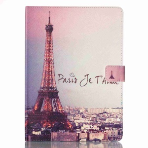 Patterned Leather Wallet Flip Case for iPad Pro 9.7 - Eiffel Tower