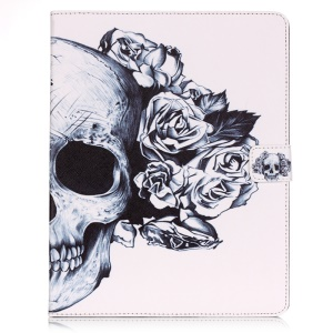 Pattern Printing Tablet Leather Stand Cover for iPad 4/3/2 - Skull with Rose