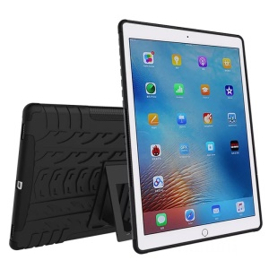 For iPad Pro 9.7 Tyre Pattern PC + TPU Hybrid Kickstand Cover - Black
