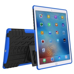 For iPad Pro 9.7 Tyre Pattern PC + TPU Kickstand Combo Cover - Blue