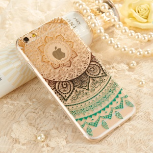 XINCUCO Garden Girl for iPhone 6s/6 Gradient Lace Pattern TPU Protective Shell - Black/Green