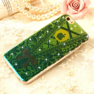 XINCUCO Lace Pattern for iPhone 6s/6 Flash Powder TPU Phone Shell - Green