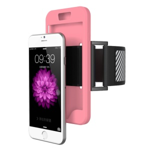 Silicone Shell Sports Armband for iPhone 6s 6 with Light Reflection Stripe - Pink