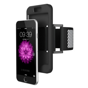 Silicone Cover Sports Armband for iPhone 6s Plus/6 Plus with Light Reflection Stripe - Black
