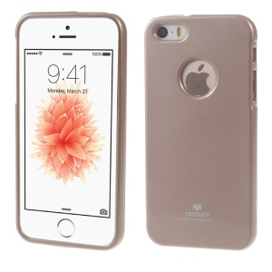 NEWSETS MERCURY Flash Powder Jelly TPU Cover for iPhone SE 5s 5 - Rose Gold