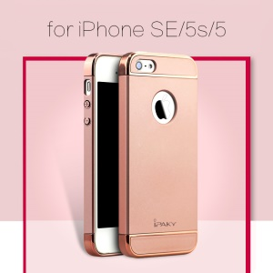 IPAKY Form-passender PC Hard Phone Case für iPhone SE / 5s / 5 - Rose Gold