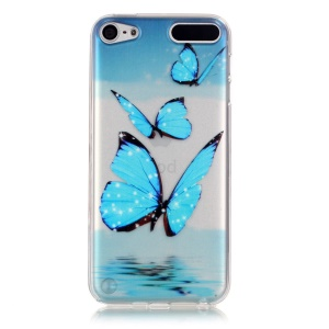 Vivid Embossed Pattern TPU Gel Back Case for iPod Touch 5/6 - Butterflies above Sea Level