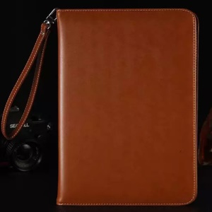 PU Leather Smart Cover with Hand Strap for iPad Pro 9.7 Inch - Dark Brown