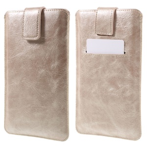 Card Slot Leather Pouch Sleeve for iPhone 6s Plus/ Samsung Galaxy S7 edge, Size: 16.5 x 9.5cm - Gold