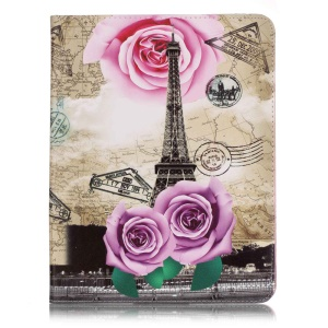 Patterned Leather Wallet Phone Case for iPad 2/3/4 - Map, Eiffel Tower and Purple Rose
