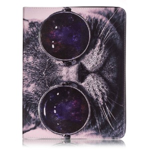 Patterned Leather Wallet Protective Case for iPad 2/3/4 - Cat Wearing Glasses