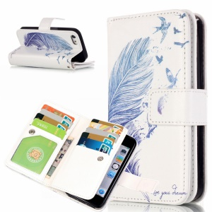 Patterned Leather Wallet Stand Cover for iPhone SE 5s 5 with 9 Card Slots -  Feather and Birds