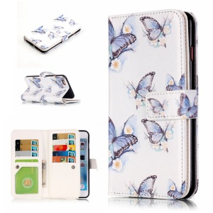 Embossed Leather Case with 9 ID/Credit Card Slots for iPhone 6s 6 - Beautiful Butterflies