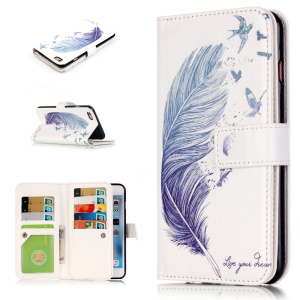 Embossed Stand Leather Flip Case with 9 Card Slots for iPhone 6s 6 - Feather and Birds
