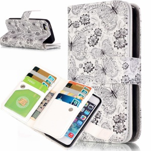 Embossed Magnetic Leather Wallet Phone Case for iPhone 5C - Flowers and Butterflies