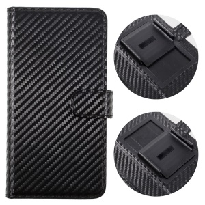 Carbon Fiber Universal Slide Up Leather Wallet Case for iPhone 6s Plus/Samsung A9, Width: 53- 80mm - Black