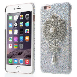 Charming Rhinestone Flower Pearl Pendant Hard Cover for iPhone 6s Plus/6 Plus - Silver