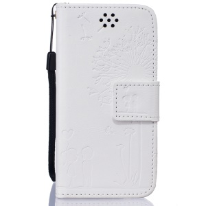 Dandelion and Lovers Leather Wallet Cover for iPod Touch 6 / Touch 5 - White