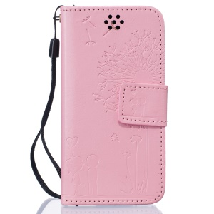 Dandelion and Lovers Leather Card Holder Case for iPod Touch 6 / Touch 5 - Pink