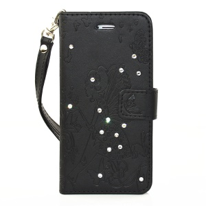 Diamond Imprint Butterfly Fairy for iPhone 6 6s Leather Wallet Cover - Black