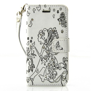 Diamond Imprint Butterfly Fairy for iPhone 6 6s Leather Wallet Cover - Black / White