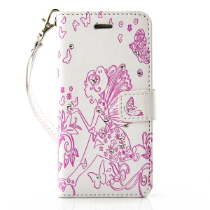 Diamond Imprint Butterfly Fairy for iPhone 6 6s Leather Wallet Cover - Rose / White
