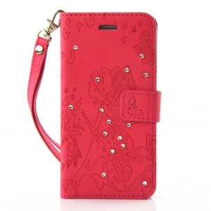 Diamond Imprint Butterfly Fairy for iPhone 6 6s Leather Wallet Cover - Red