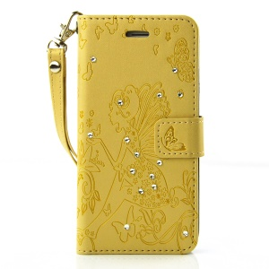 Diamond Imprint Butterfly Fairy for iPhone 6 6s Leather Wallet Cover - Yellow