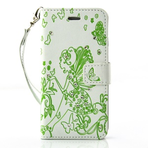 Diamond Imprint Butterfly Fairy for iPhone 6 6s Leather Wallet Cover - Green / White