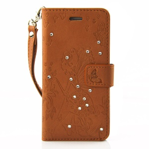 Diamond Imprint Butterfly Fairy for iPhone 6 6s Leather Wallet Cover - Brown