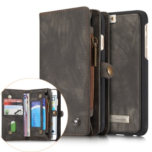 CASEME Vintage Split Leather Multi-slot Wallet Cover for iPhone 6s Plus / 6 Plus - Grey