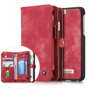 CASEME for iPhone 6s 6 Retro Split Leather Multi-slot Wallet Cover - Red