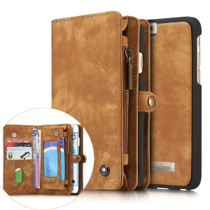 CASEME for iPhone 6s 6 Retro Split Leather Multi-slot Wallet Shell Case - Brown