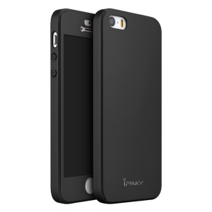 IPAKY PC Hard Shell Full Protection Case for iPhone SE/5s/5 - Black