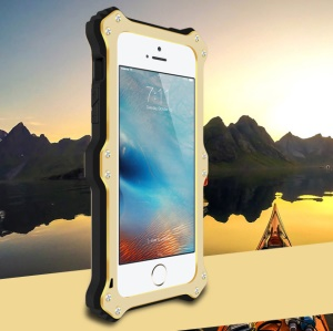 LOVE MEI MK2 Shock-proof  Aluminum Silicone Combo Phone Shell for iPhone SE/5s/5 - Champagne Gold