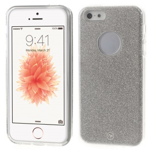 FSHANG Shimmering Powder + PC + TPU Hybrid Case for iPhone SE/5s/5 - Silver