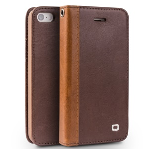 QIALINO Western Style Genuine Leather Stand Case for iPhone SE/5s/5 - Dark Brown
