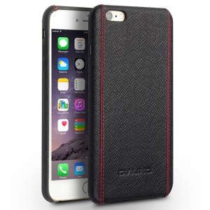 QIALINO Genuine Leather Coated Hard Back Cover for iPhone 6s/6 - Cross Pattern with Red Stitching