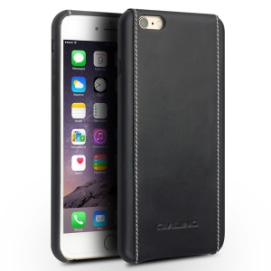 QIALINO Genuine Leather Coated Hard Back Cover for iPhone 6s Plus/6 Plus - Plain Texture with White Stitching