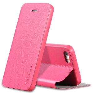 X-LEVEL FIB Color Flip Leather Cover Protector for iPhone SE/5s/5 - Rose
