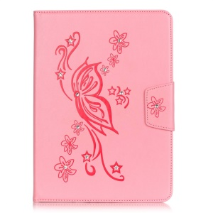 For iPad Pro 9.7 inch Imprint Flower Rhinestone Wallet Smart Leather Shell - Pink