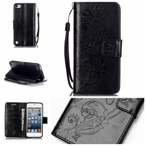 Imprinted Pattern Flip Wallet Leather Case for iPod Touch 6/5 - Black