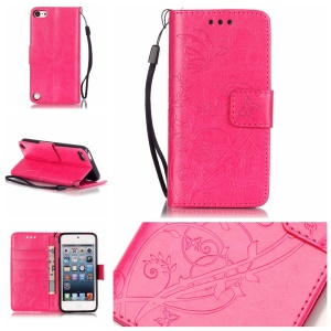 Imprinted Pattern Flip Wallet Leather Shell Case for iPod Touch 6/5 - Rose