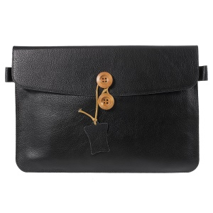 DOORMOON Genuine Leather Pouch Bag for 11.6-inch/12-inch MacBook, Size: 319 x 212mm - Black