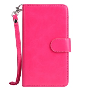 Crazy Horse Magnetic Leather Wallet Cover Case with Wrist Strap for iPhone 6s 6 - Rose