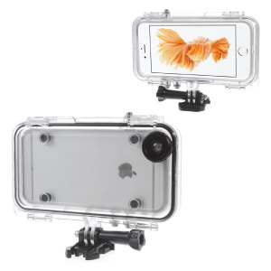 Extreme Sports Waterproof Case with Wide Angle Lens for iPhone 6s Plus/6 Plus - Black