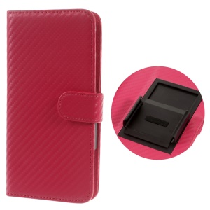 Carbon Fiber Universal Slide Up Leather Wallet Cover for iPhone 6s /6,  Width: 53- 70mm - Red