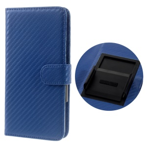 Carbon Fiber Universal Slide Up Leather Wallet Shell for iPhone 7 6s 6,  Width: 53- 70mm - Blue
