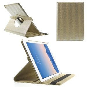 Snake Grain Rotating Smart Leather Stand Flip Case for iPad Air 2 - Gold